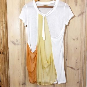 PIKO 1988 White/Gold/Orange Silk T-Shirt Dress S